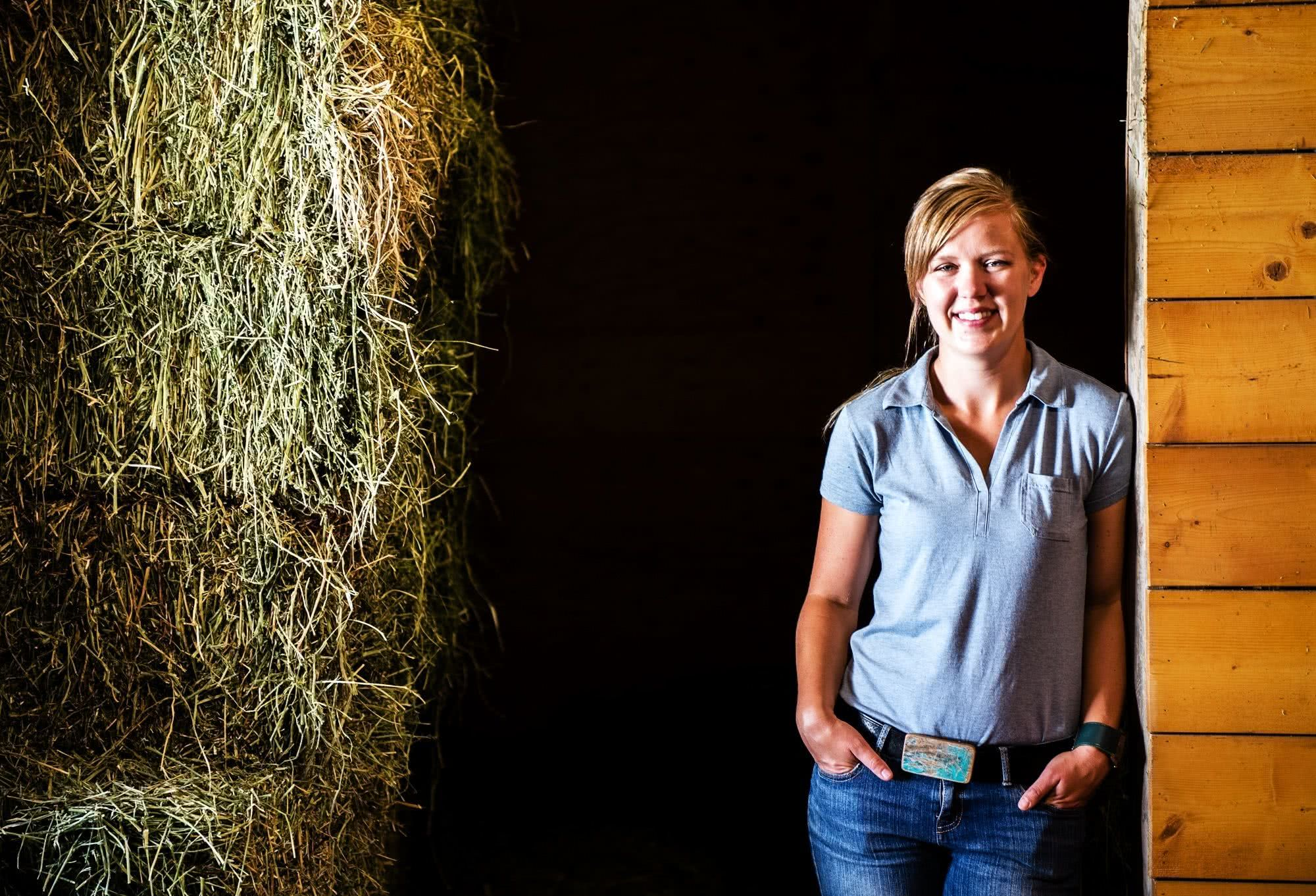 kaitlin in a barn